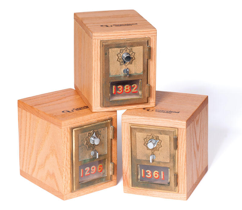Old small wooden single mailboxes, three: 1382, 1290, 1361