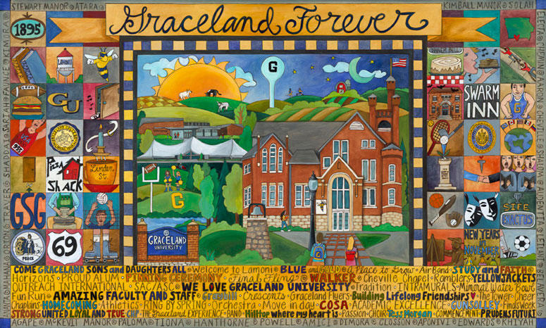 Sticks Heritage Collection artwork: Graceland Forever, with logos and icons of different clubs and activities on the Lamoni campus