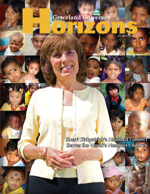 2009 Fall Graceland University Horizons magazine cover: Sherri Kirkpatrick's HealthEd Connect