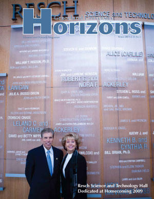 2009 Winter Graceland University Horizons magazine cover: Resch Science and Technology Hall Dedicated at Homecoming 2009