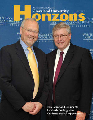 2010 Spring/Summer Graceland University Horizons magazine cover: Two Graceland Presidents Establish New Graduate School Opportunity