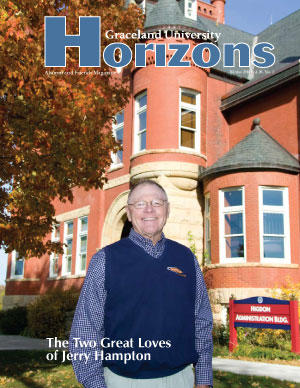 2010 Winter Graceland University Horizons magazine cover: The Two Great Loves of Jerry Hampton