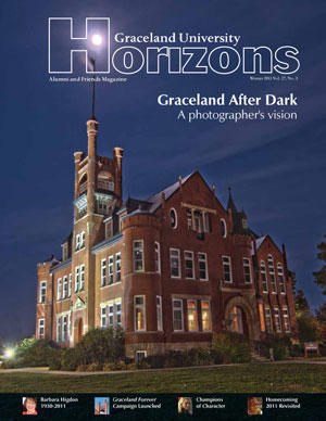 2011 Winter Graceland University Horizons magazine cover: Graceland After Dark