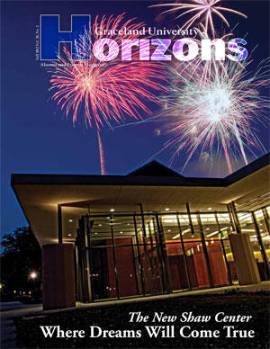 2012 Fall Graceland University Horizons magazine cover: The New Shaw Center