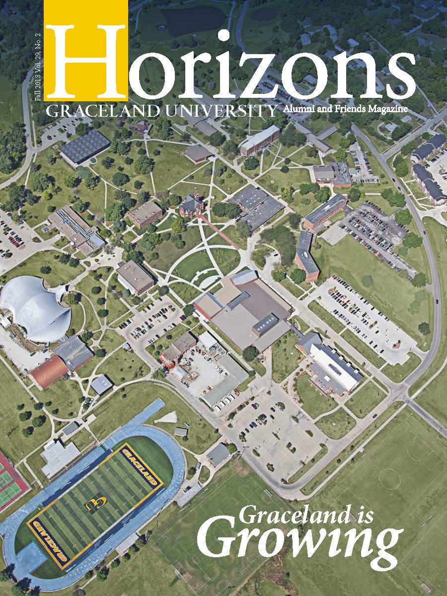 2013 Fall Graceland University Horizons magazine cover: Graceland is Growing