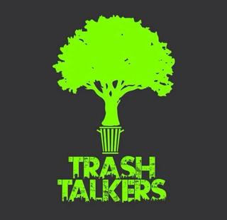 A lime green tree drawn onto a charcoal colored backdrop: Trash Talkers logo