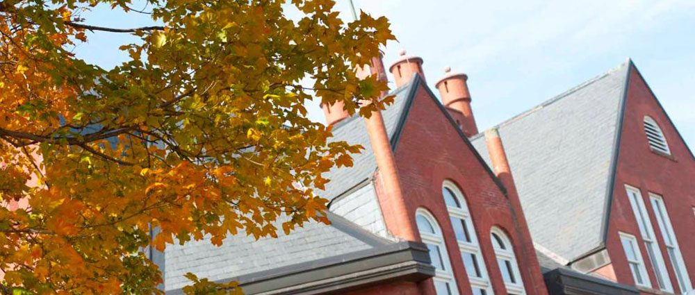 Fall leaves hanging from tree branches in front of the top floor of the Higdon Admin Building