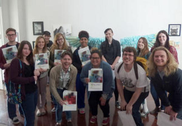 A group of student artists who are winners of the annual Juried Art Exhibition