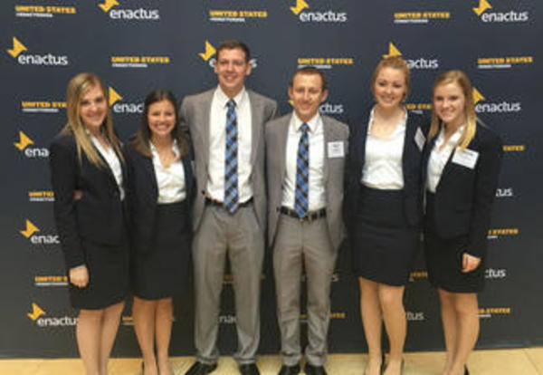 The Graceland University Enactus presentation team poses for a photo at the regional competition.