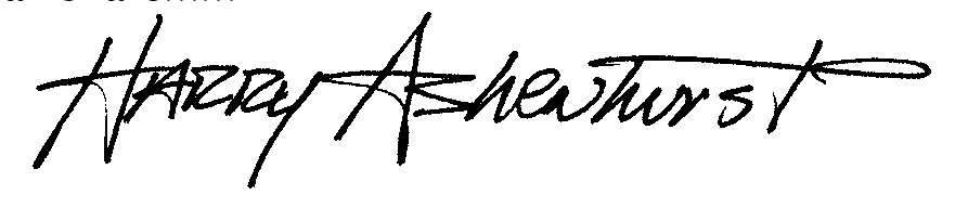 Harry Ashenhurst Signature