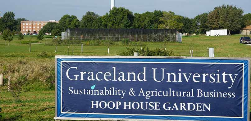 Graceland University Sign Hoop House Garden