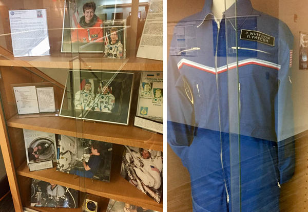 Astromaut Peggy Whitson's space suit, photos and other memorabilia on display in Resch Science and Technology Hall