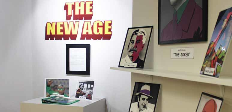 "Senior art show: ""The New Age."" Painted images on paper-sized posters scattered about an art gallery"