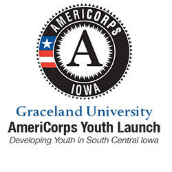 Badge/Logo: AmeriCorps Iowa, Graceland University, AmeriCorps Youth Launch, Developing Youth in South Central Iowa