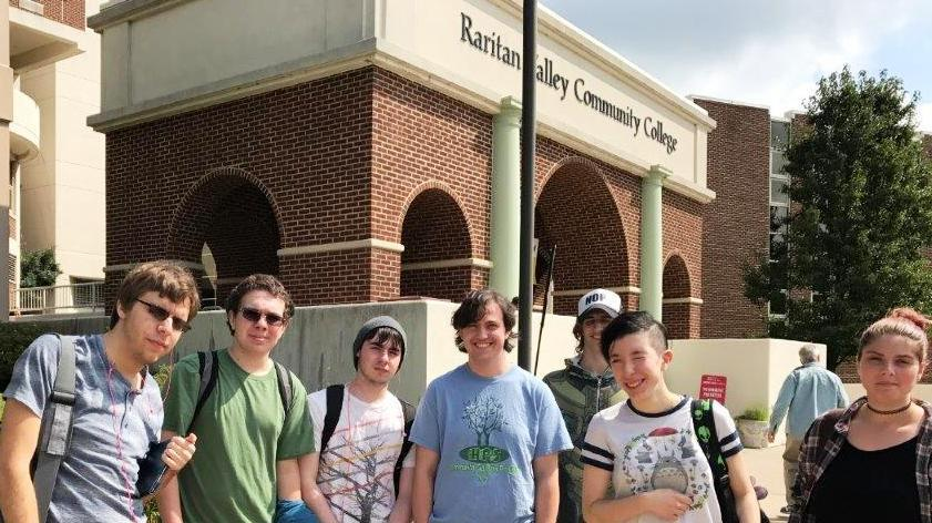 A group of Hunterdon Prep students on campus at Raritan Valley Community College
