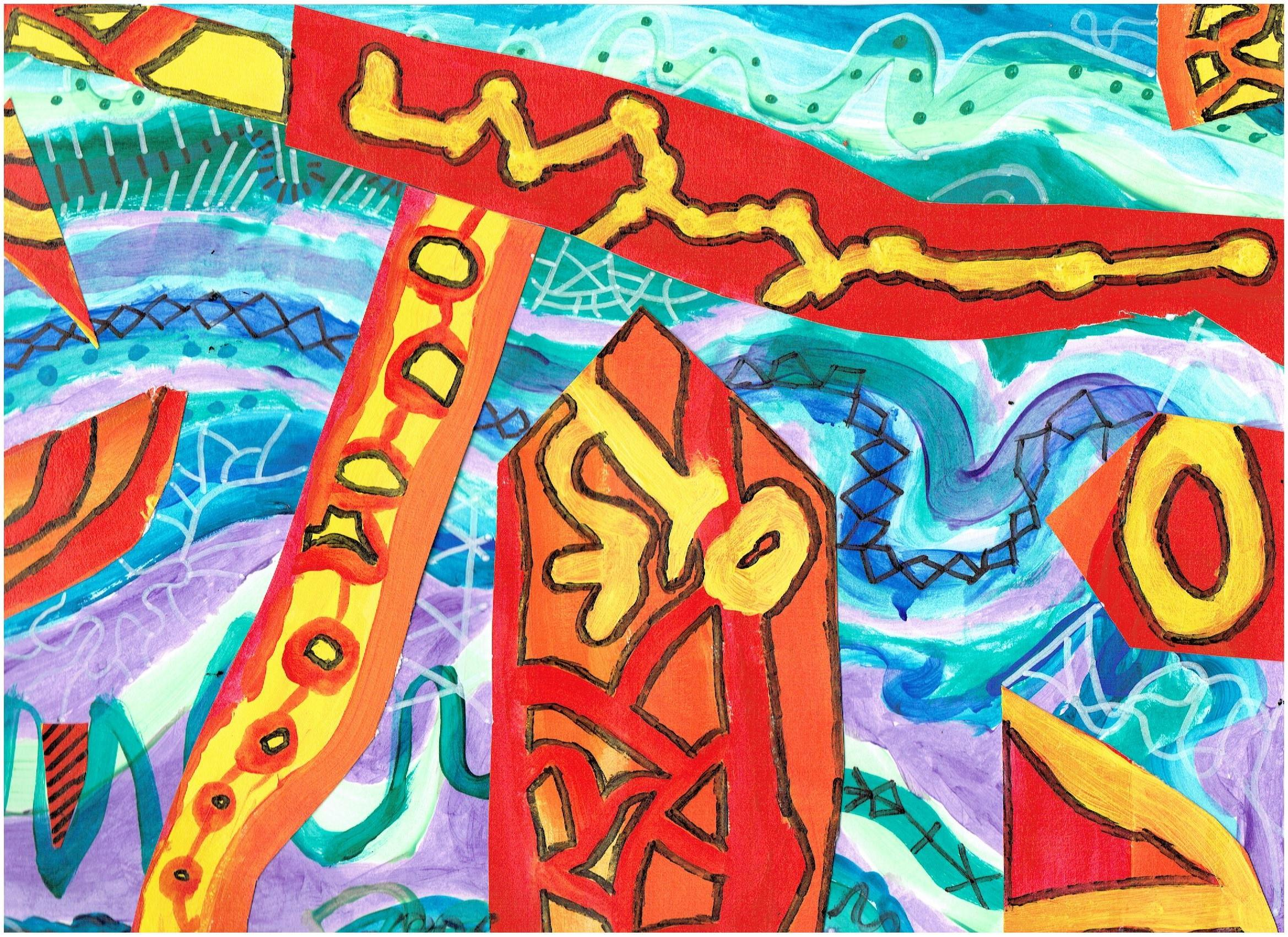 A colorful collage created by a Hunterdon Prep student in the style of artist, Friedensreich Huntertwasser.