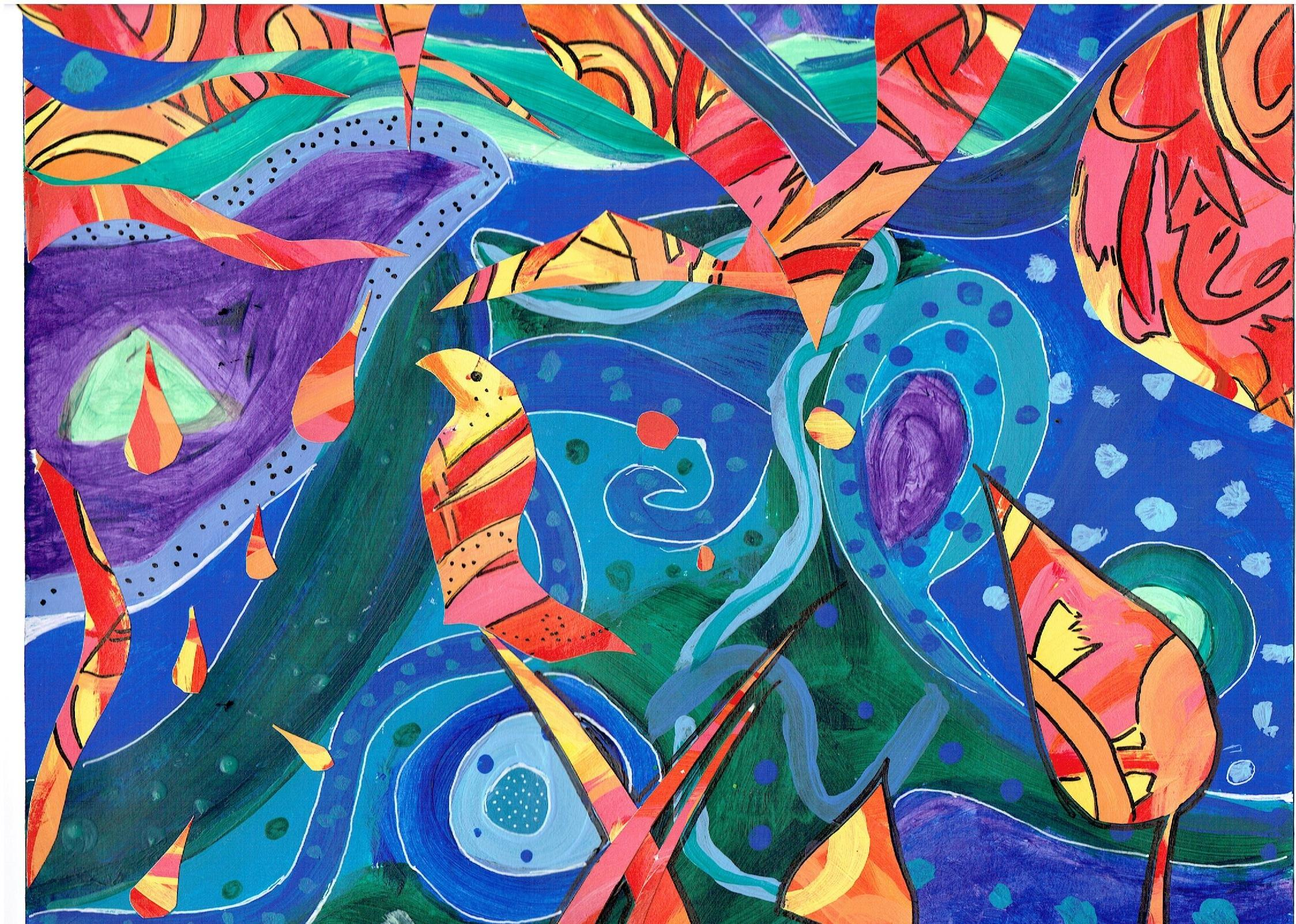 A second colorful collage created by a Hunterdon Prep student in the style of artist, Friedensreich Huntertwasser.