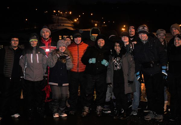 Group of students on snow tubing trip