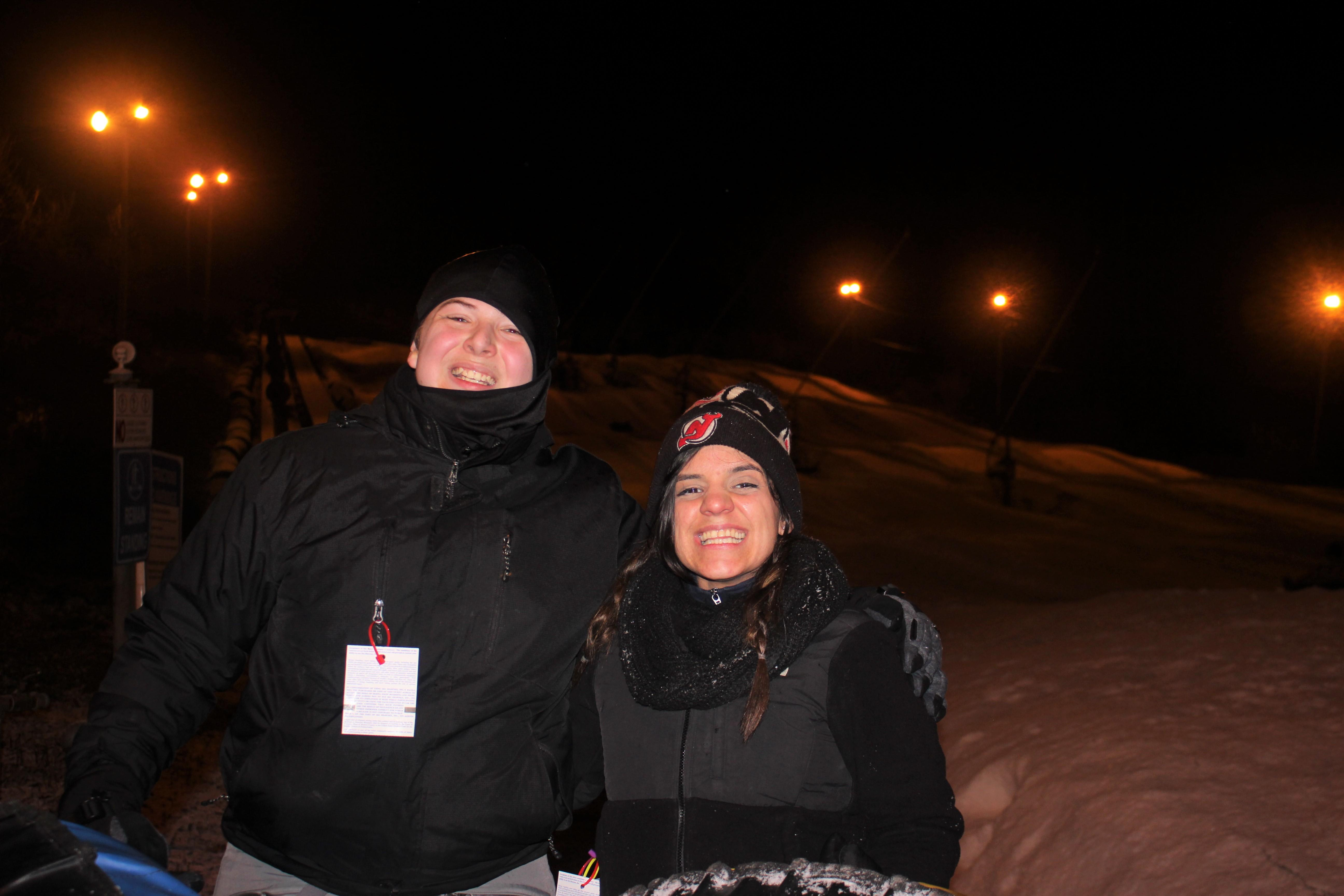 Student and teacher on snow tubing trip