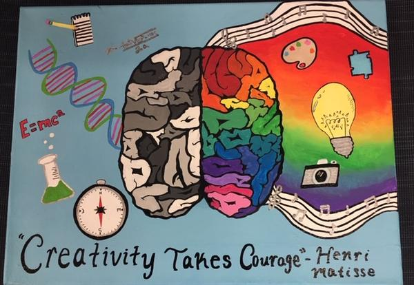 """Poster painted by a student called """"Creativity Takes Courage"""""""