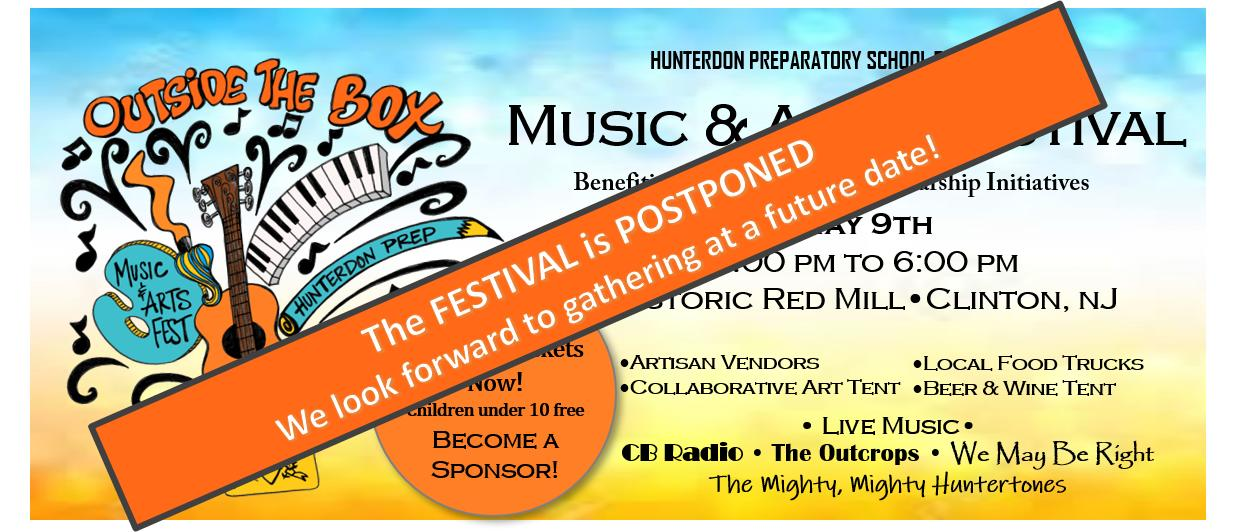 Colorful banner for the Outside the Box Music and Arts Festival on May 9 at the Red Mill in Clinton NJ