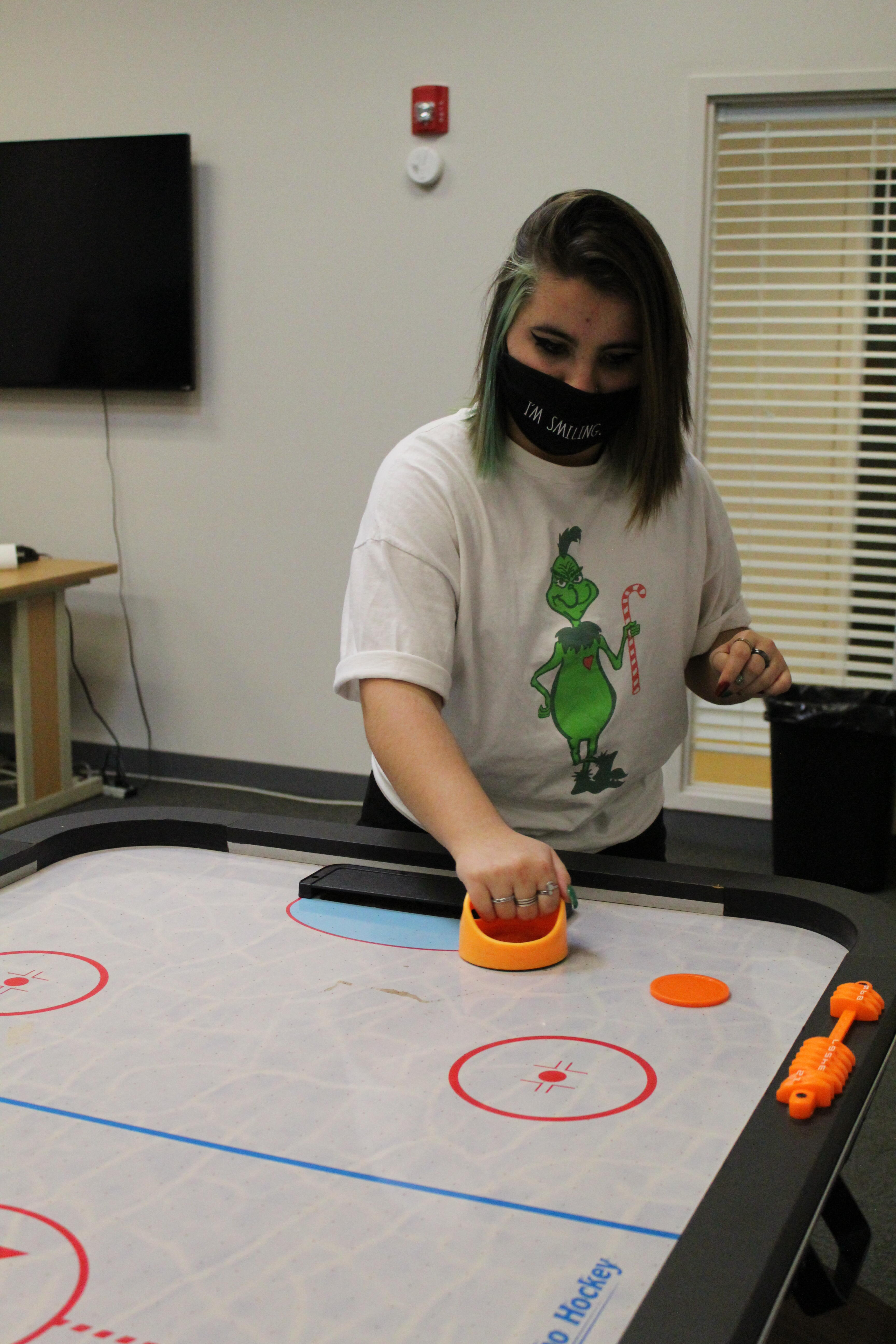 student playing a game