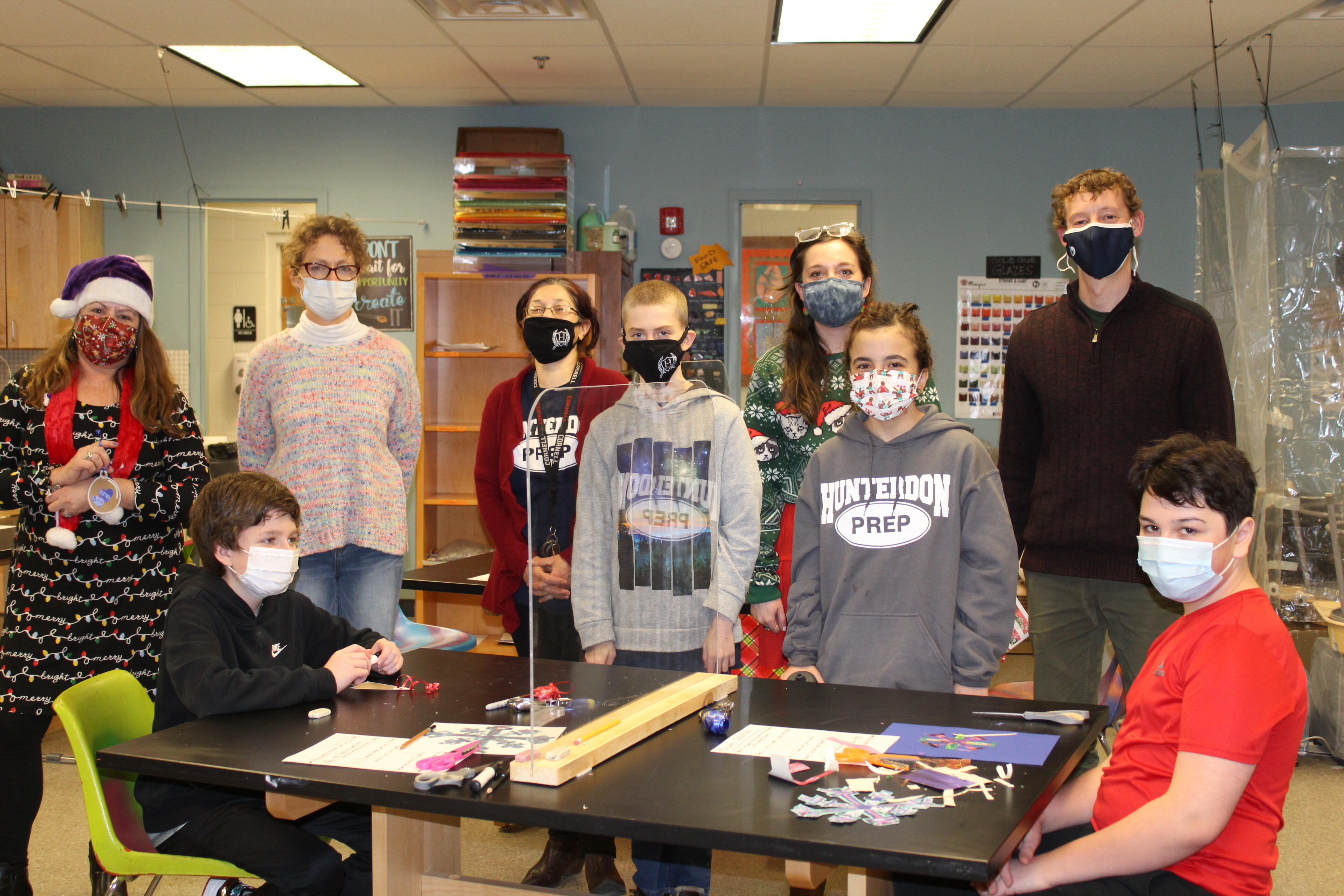 students in the art room