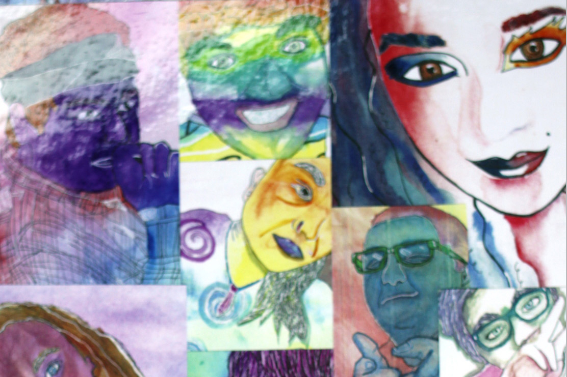 A collage of watercolor senior portraits