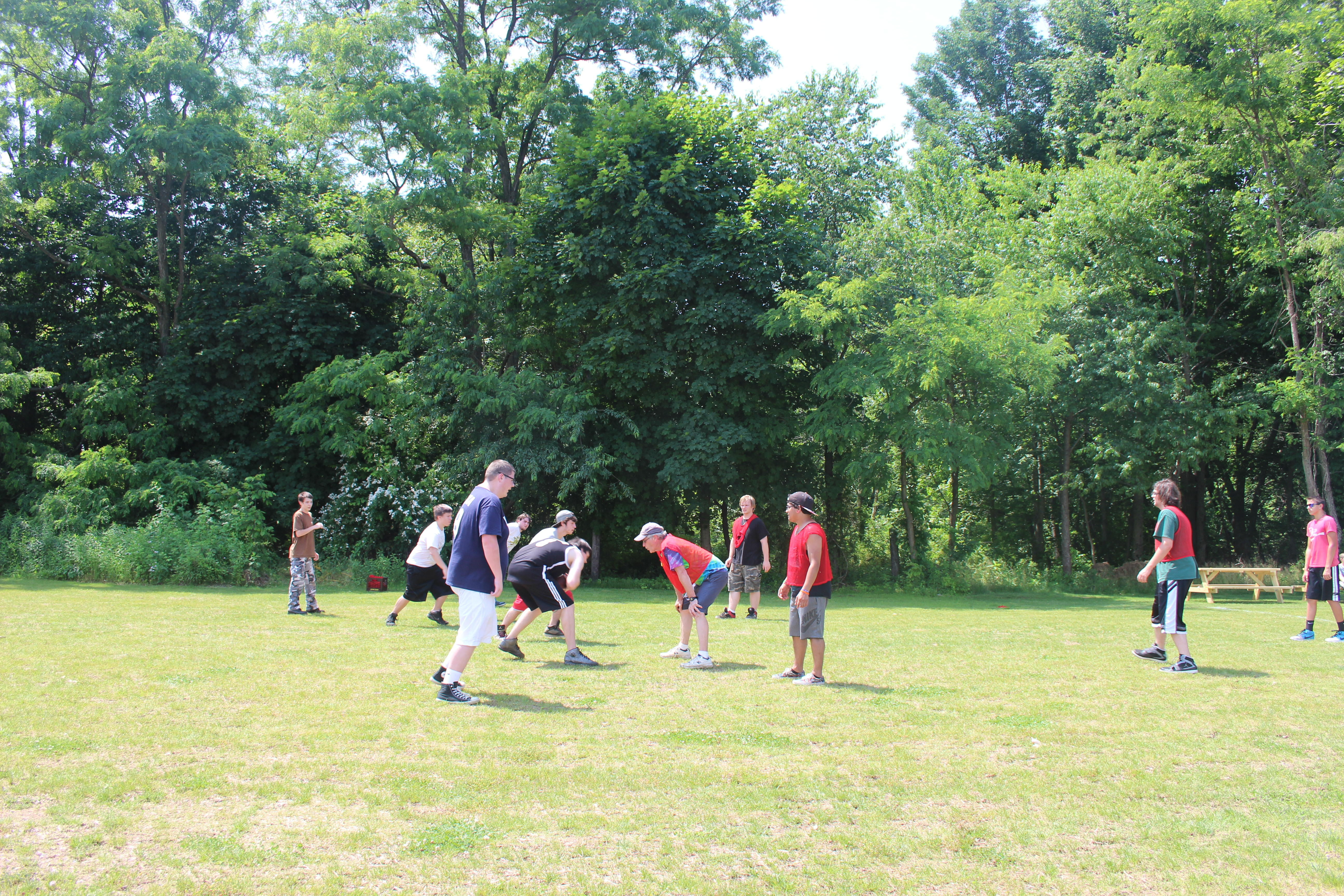 Students playing flag football in PE
