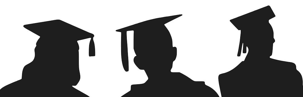 A black silhouette of 3 students wearing caps and gowns