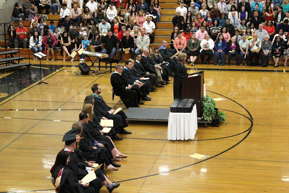 2017 EPHS graduation — Former Board Member Cynthia Stazzone addresses the students