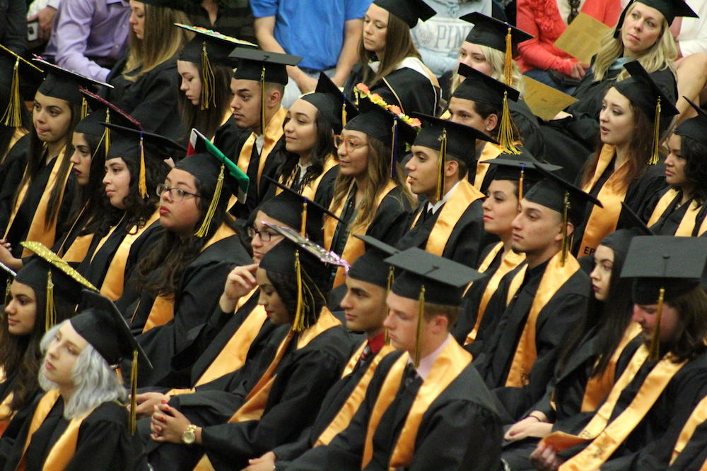 2017 EPHS graduation — students listen to Principal Jennings