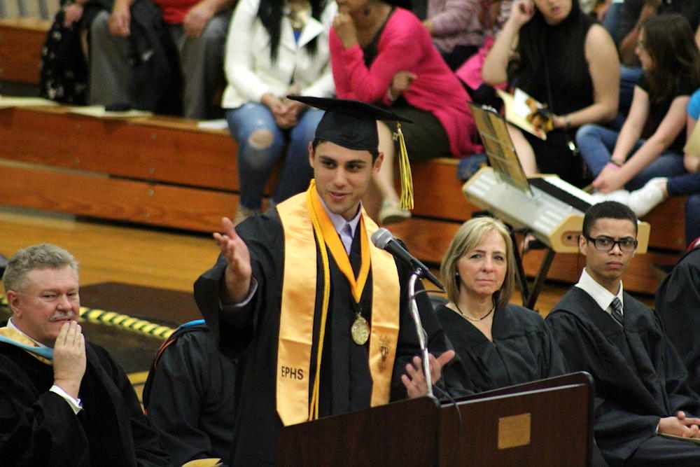 2017 EPHS graduation — Valedictorian Steiv Shore addresses his classmates