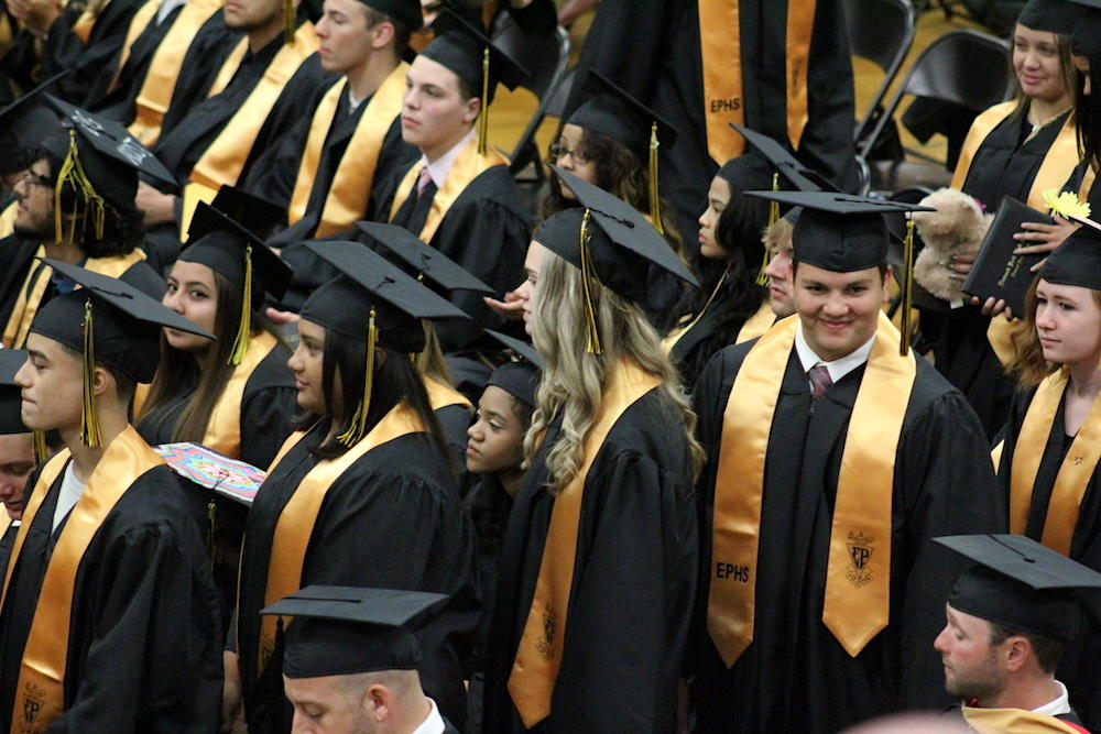 2017 EPHS graduation — students get up and begin their walk to the dais