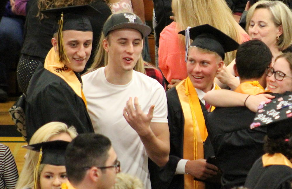 2017 EPHS graduation — students celebrate with friends and relatives after the ceremony