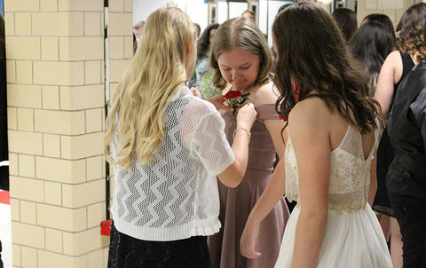 "Elm Graduation 2017 — Students ""backstage"" in cafeteria before the ceremony"