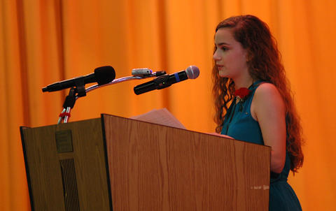 Elm Graduation 2017 — Student speaker Andrea Ormaza addressing the audience