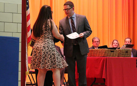 Elm Graduation 2017 — Student Alexa Duarte receiving her Cougar Pride Award from Assistant Principal Dr. Cody Huisman