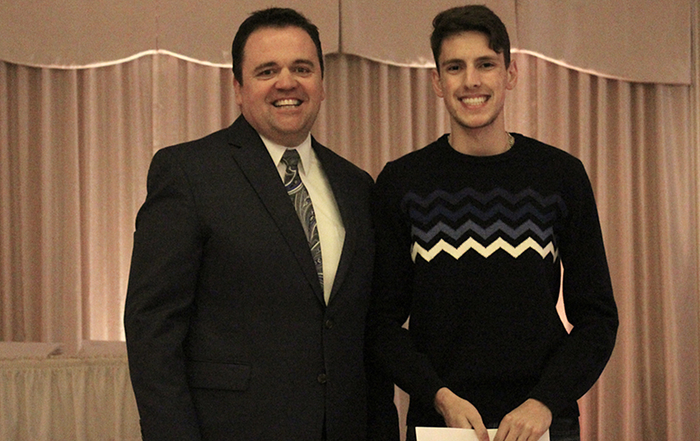 Principal James Jennings and EPHS senior Ioannis Kallianiotis. Honors: Department Achievement Award for Technology.