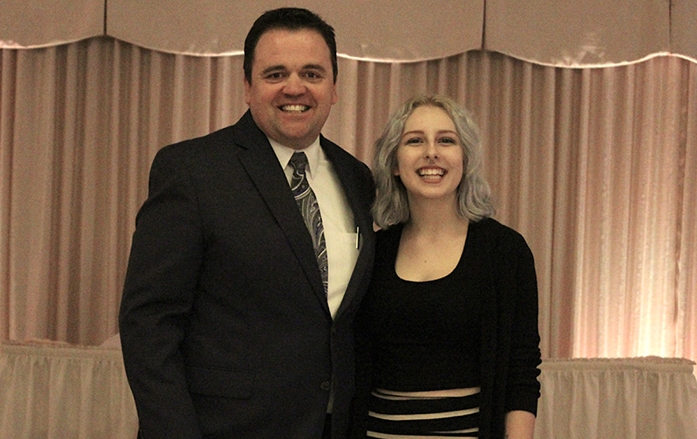 Principal James Jennings and EPHS senior Jennifer Quaglia. Honors: Bob Biancalana Memorial-Mont Clare/Elmwood Park Lions Club Scholarship, Unity in the Community Foundation Scholarship.