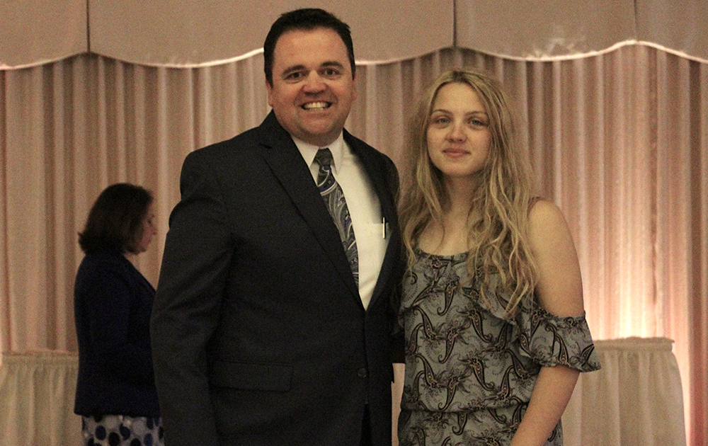 Principal James Jennings and EPHS senior Wiktoria Woronko. Honors: Presidential Scholar, National Honor Society.