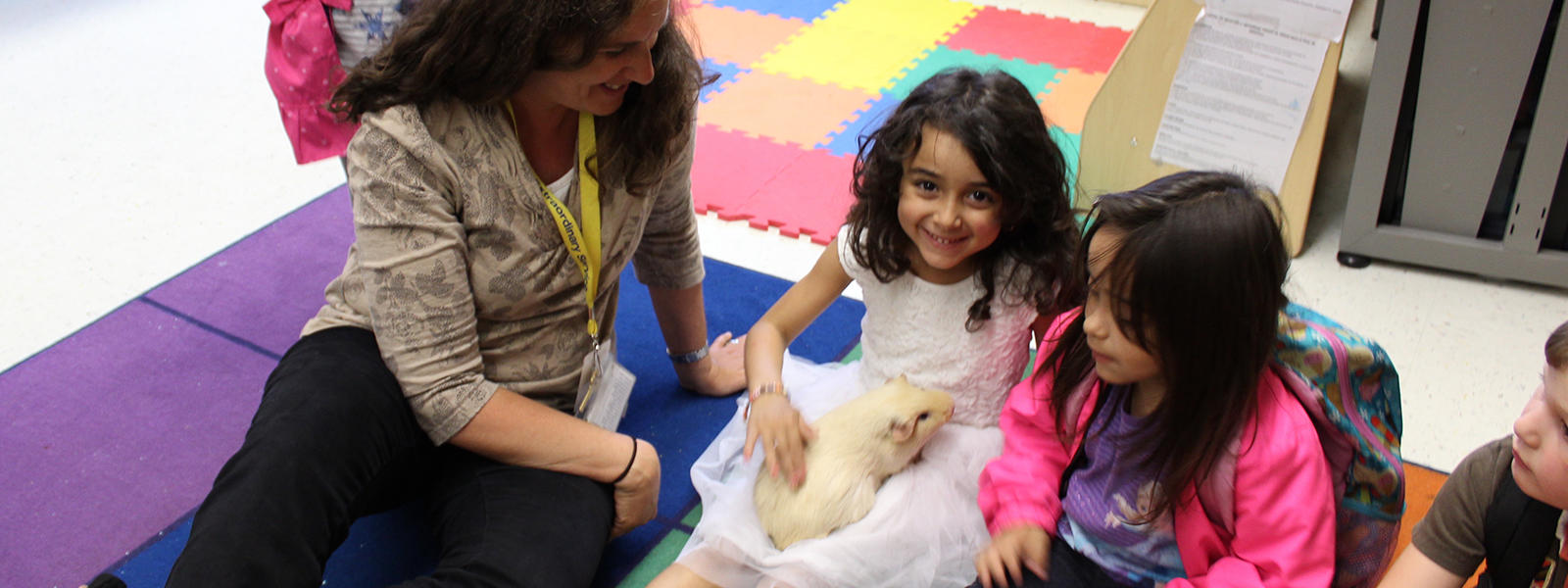 ECC students meet a furry friend.