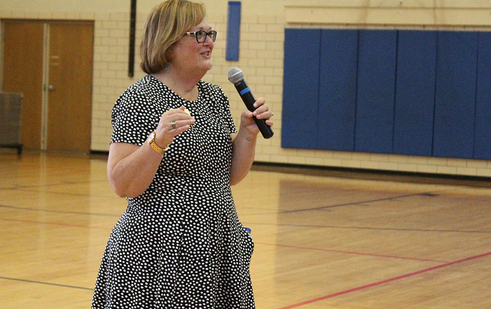 Principal Dr. Kathleen Porreca addresses Elm students during the first day of school, Aug. 16, 2017.