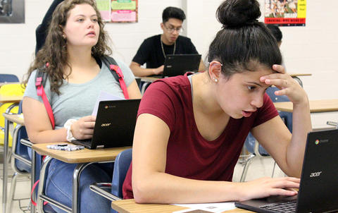 EPHS students work at their laptops as they participate in Google circuit training on the first day of school.