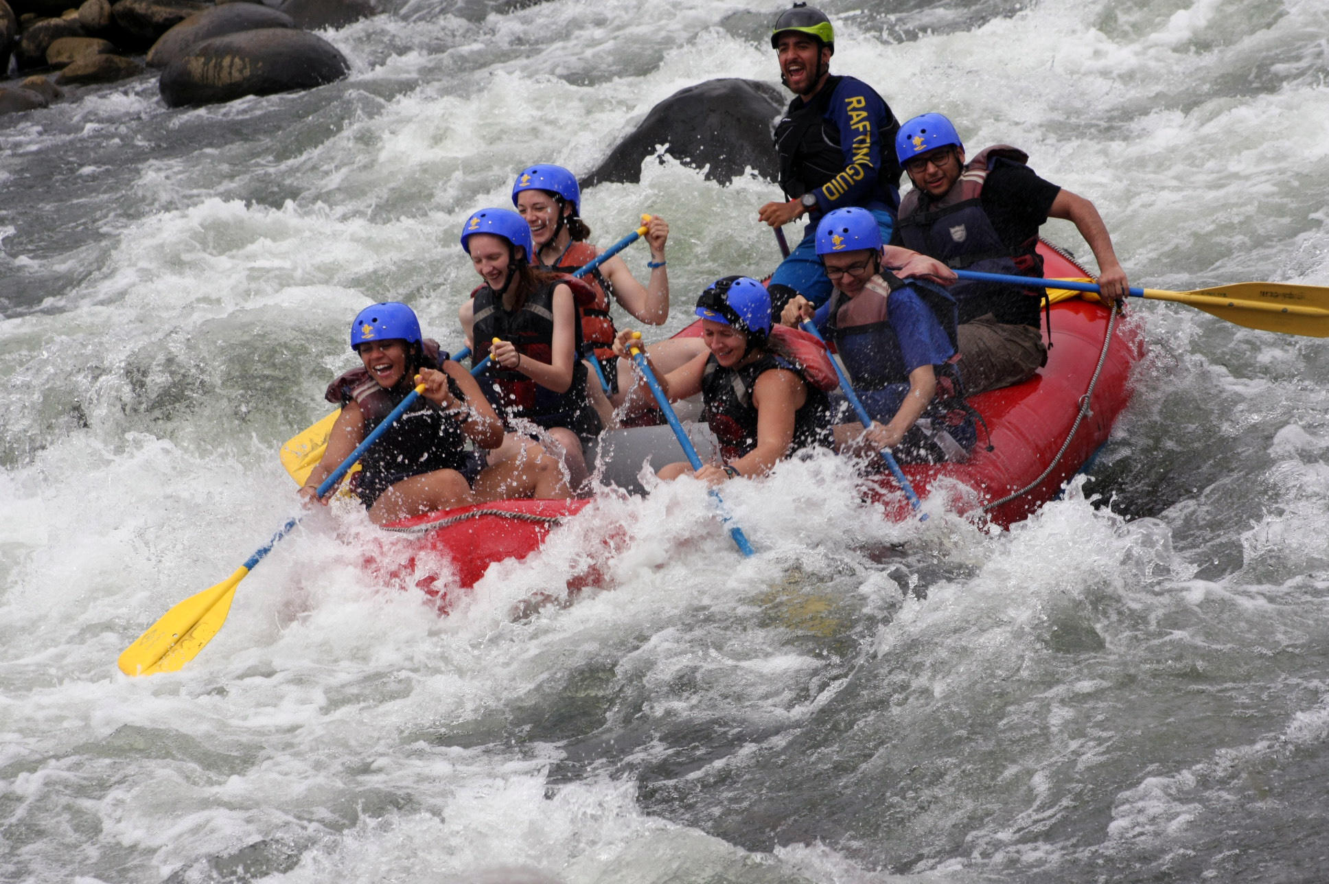 EPHS students go whitewater rafting during their Costa Rica summer trip.