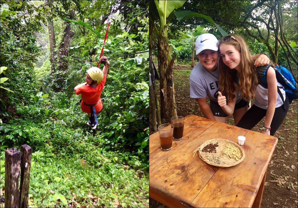 At left, an EPHS student ziplines through a Costa Rican forest. At right, two EPHS students stand behind an outdoor table, ready for a meal.