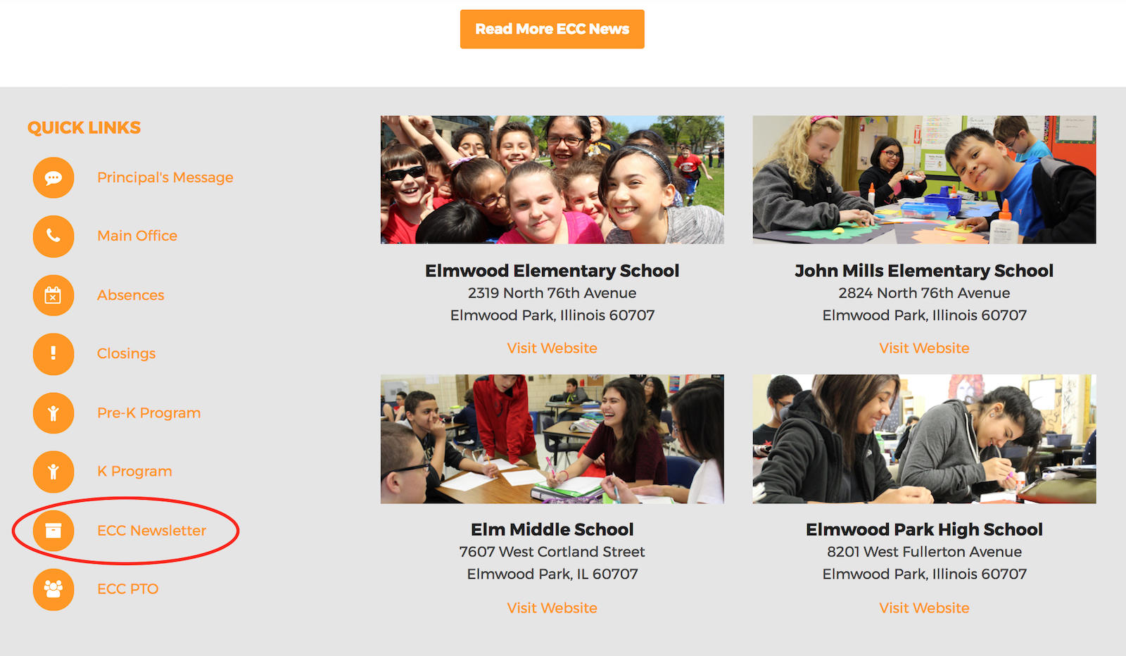 Screenshot of the ECC home page showing a second link to the school newsletter page.