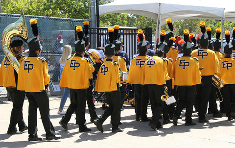 EPHS Band members march outside Memorial Stadium on their way to the playing field for their halftime performance.