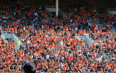 A panoramic view of the halftime crowd on the east side of Memorial Stadium in Champaign on Saturday, Sept. 2, 2017.