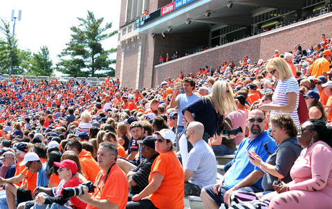 A panoramic view of the halftime crowd on the west side of Memorial Stadium in Champaign on Saturday, Sept. 2, 2017.